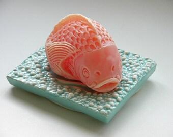 Koi Fish Soap on Ceramic Dish