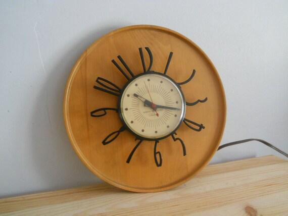 Mid Century Telechron GE Blonde wood wall clock- rare.