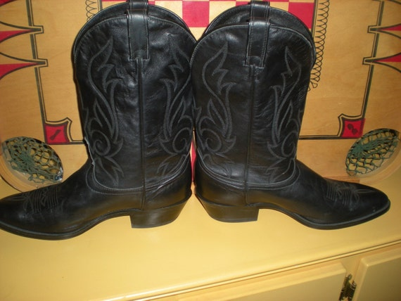 Black Leather Western Boots Size 12 Men's Cowboy Boots Western Apparrel Men's Boots