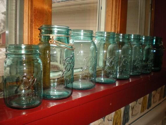 RESERVED FOR ALLIE  only.... Blue Mason Jars Quart Ball Jar Vintage Quart Jars Ball Jars Canning Jars