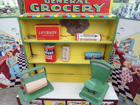 Tin General Grocery Toy Vintage Store Childrens Vintage Store Meat Counter Wrigleys Gun