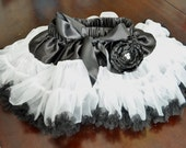 The Parisian - Super Soft Chiffon Pettiskirt in Black and White. Perfect for milestone and themed Birthdays.