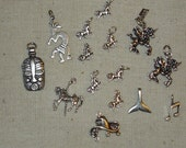 Sterling Silver Lot of 15 Charms-Carousel Horse,Unicorns,Cowboy Hat,Kokopelli,Mask