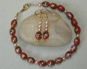 Red Cloissonne and Pearl Bracelet & Earrings Set