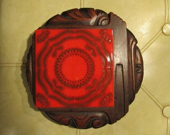 Vintage Cheese Board - Carved Wood with Square Ceramic Tile - Made in Honduras