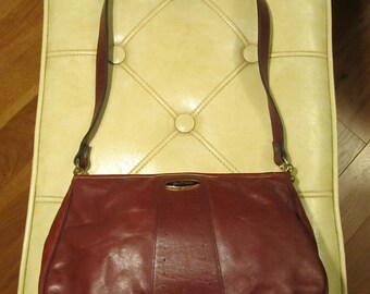 Vintage Aigner Oxblood Leather Shoulder Purse - 1970s