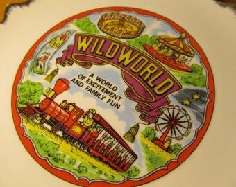 Vintage Wild World Amusement Theme Park Souvenir Plate