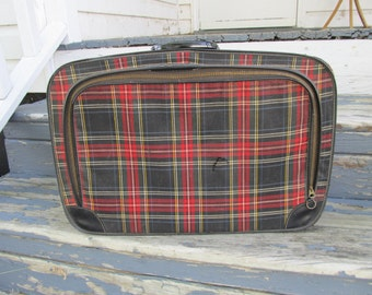 Vintage Small Plaid Travel Suitcase