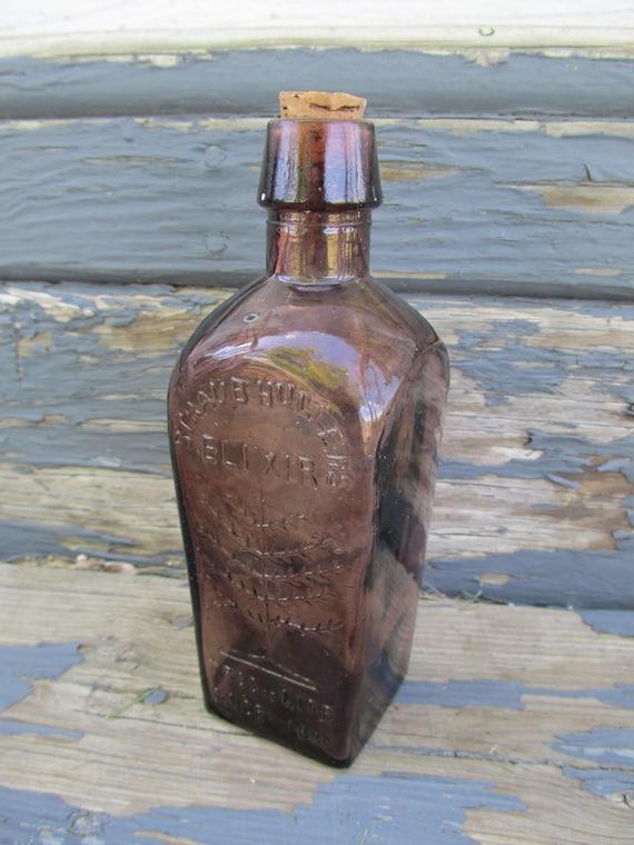 Vintage Straubhullers Elixir Bottle - Tree of Life - Brown glass
