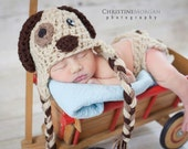Baby Boy Girl Hat Puppy newborn Dog Earflap diaper cover set hats Photo Studio Prop boys girls propsPhotography 0-3 3-6 6-12 12-24