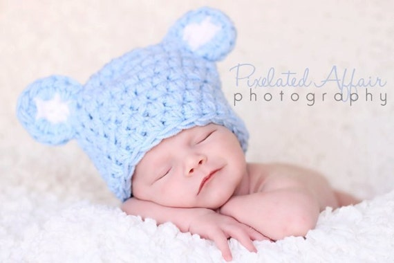 Newborn baby bear hat crochet ANY SIZE or color Photo Studio Prop Beanie Blue Pink Tan Brown White grizzly polar cub