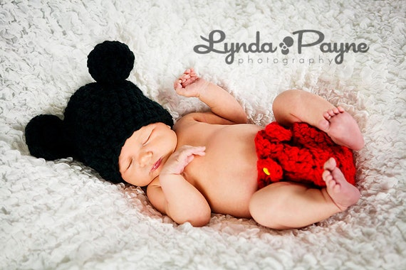 Baby Mickey Hat Boy Mickey Mouse Minnie Hat and Diaper outfit set Cover Newborn Baby Photo Shoot Prop Hat SALE ANY SIZE 0-24