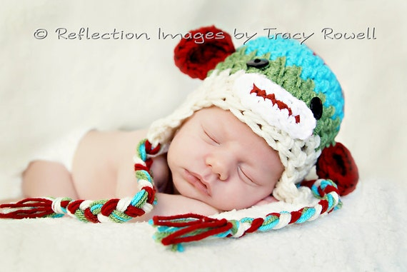 Newborn Baby Sock Monkey Crochet Hat ANY SIZE or color Photo Studio Prop jungle Toddler Child  0-3 Mos Infant Beanie Twins Triplets