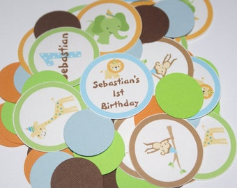 Sweet Safari, Sweet at One, Jungle, Zoo, Animal Personalized Confetii (SSBO-1)