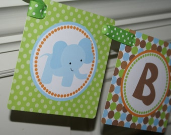 Safari, Jungle, Zoo, Animal Baby Shower Banner (Blue, Green & Brown) by The Party Paper Fairy