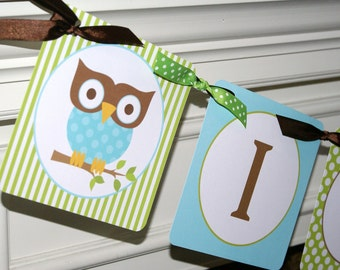 It's A Boy Owl Banner by The Party Paper Fairy