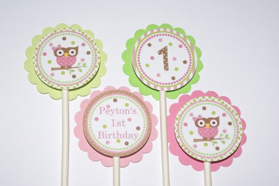 Mod Owl Birthday or Baby Shower Cupcake Toppers (24) Pink, Kiwi, Brown by The Party Paper Fairy (MOG-1)
