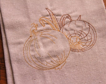 Kitchen Linen Tea Towel, Embroidered Onions