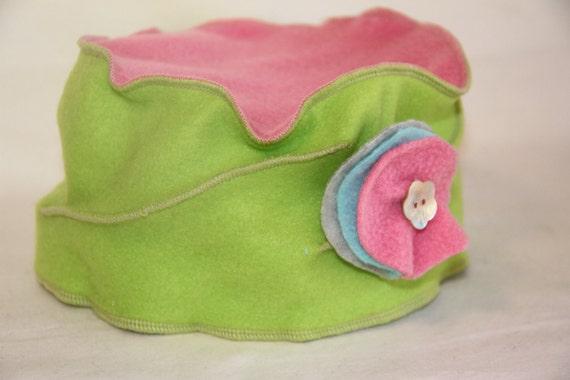 Pink & Green Pillbox Hat