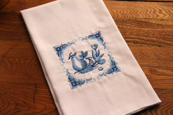 Kitchen Tea Towel, Delft Blue, Fruit & Tulips