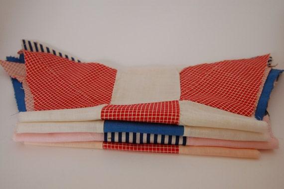 Reserve for Jane -Quilt blocks - Lot of 5 vintage fabrics patriotic pieces - red, white & blue