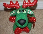 Handpainted Ceramic Chris Moose or Merry Moose painted with a holly berry print to look stuffed & a plaid ribbon