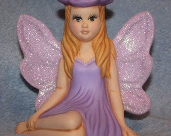 lavender Ceramic Flower Fairy hand painted with sparkling diamond dust glitter on the wings