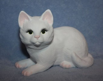 Handpainted Ceramic Kitten laying down in all white with little pink ears, nose & feet