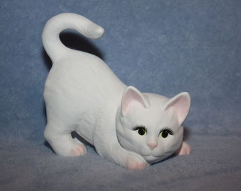 Handpainted ceramic Playful Kitten in white with little pink ears, nose & feet