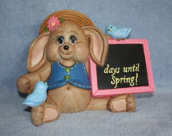 Handpainted Ceramic Bunny Holding a Spring Countdown Chalkboard