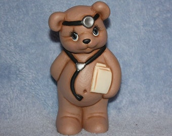 Handpainted ceramic Minature Doctor Bear