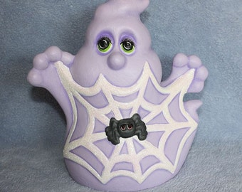 Handpainted Ceramic Purple Ghost with Sparkling Spider Web and Spider