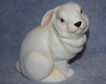 Handpainted Ceramic Bunny Rabbit in all white with little pink ears and nose