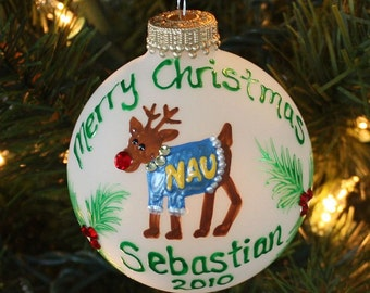 Christmas Reindeer Ornament, handpainted College Ornament wearing a sweater painted to match School Colors or Christmas colors