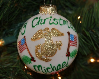 US Marine Personalized Ornament with two American Flags- Handpainted and Made to Order