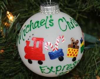 Handpainted Christmas Express Choo Choo Train Personalized Ornament - Made to Order