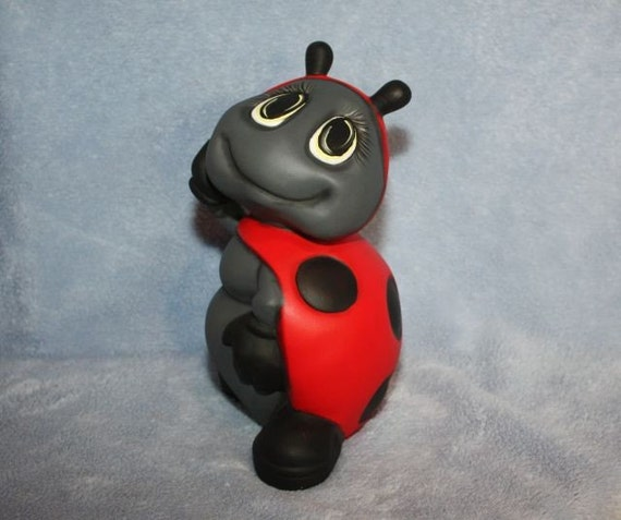 Handpainted ceramic Ladybug Standing up posing in red & black