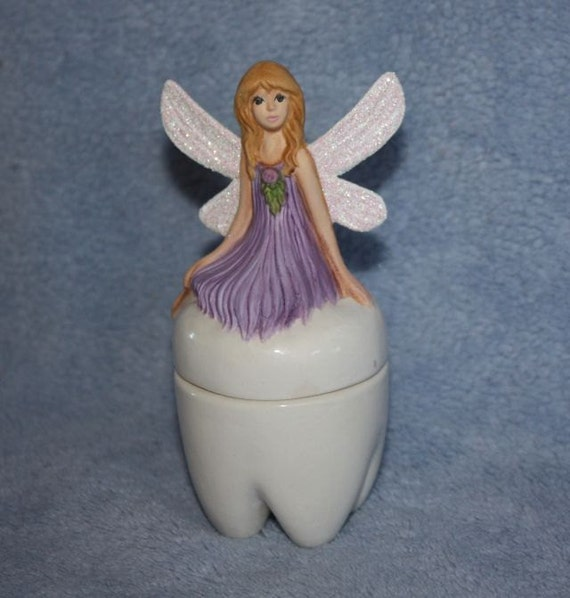 Handpainted Ceramic Tooth Fairy Treasure Box in lavender with sparkling wings