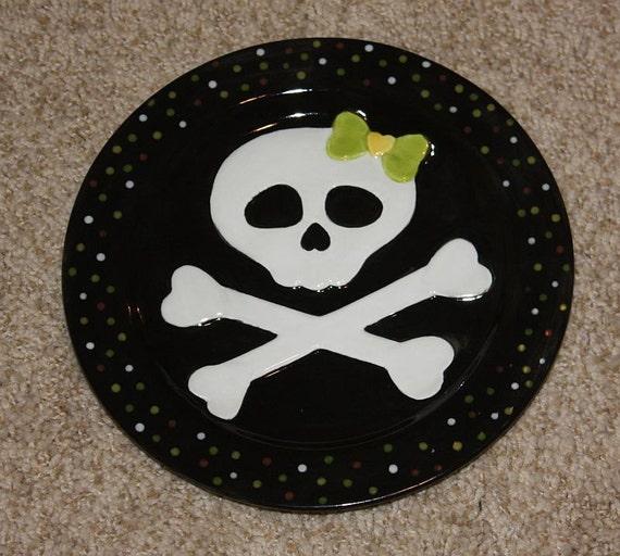 Handpainted Ceramin Halloween Skeleton Girl's Plate with Polka dot trim on the plate