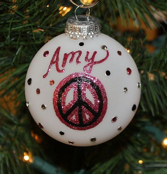 Handpainted  Peace Sign Personalized Ornament in Sparkling Pink and Black with Swarovski Rhinestones- Made to Order