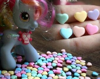 465pcs Heart Shapped Decora Kawaii DIY Pastel Candy Acrylic Plastic Tablet Bead 6 colors Mix (pink, lavender, yellow, aqua, mint, peach)