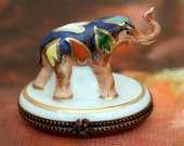 French Accents Limoges Box of Painted Elephant with Gold Quill inside