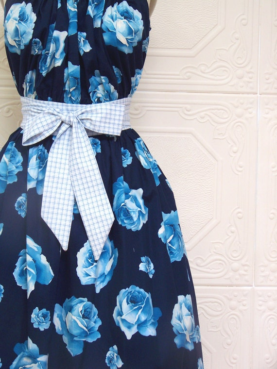 Gathered Bib Summer Dress in Navy floral