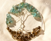 Tree of Life Pendant with Apatite, Smoky Quartz and Bronzite on Silver Chain