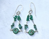 Turquoise Earrings with Apatite and Chinese Chrysocolla on Sterling Silver