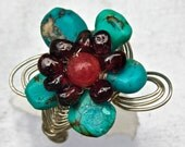 Flower Ring of Turquoise, Jade and Garnet