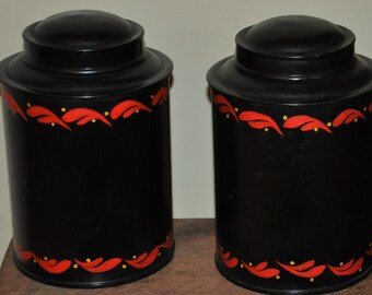 Set Black & Red Kreamer Canisters