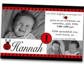 Ladybug First Birthday Invitation--- Digital Copy---