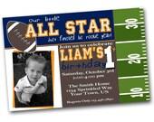 Football Birthday Invitation.  Football First Birthday Invitation.  DIY.  Printable