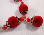 Artisan Brass Coral and Red Velvet Beaded Necklace